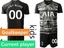 Kids 20-21 Soccer Tottenham Hotspur Club Current Player Black Goalkeeper Short Sleeve Suit Jersey