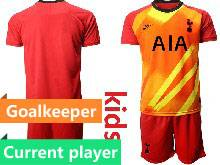 Kids 20-21 Soccer Tottenham Hotspur Club Current Player Red Goalkeeper Short Sleeve Suit Jersey