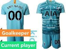 Kids 20-21 Soccer Tottenham Hotspur Club Current Player Blue Goalkeeper Short Sleeve Suit Jersey