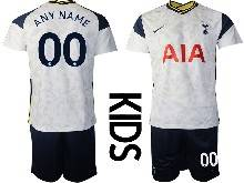 Baby 20-21 Soccer Tottenham Hotspur Club ( Custom Made ) White Home Short Sleeve Suit Jersey