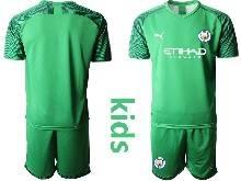 Kids 20-21 Soccer Manchester City Club ( Custom Made ) Green Goalkeeper Short Sleeve Suit Jersey