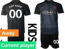 Kids 20-21 Soccer Manchester City Club Current Player Black Away Short Sleeve Suit Jersey