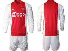Mens 20-21 Soccer Afc Ajax Club ( Custom Made ) Red Home Long Sleeve Suit Jersey