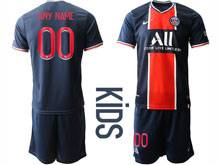Kids 20-21 Soccer Paris Saint Germain ( Custom Made ) Blue Home Short Sleeve Suit Jersey
