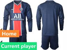 Mens 20-21 Soccer Paris Saint Germain Current Player Blue Home Long Sleeve Suit Jersey