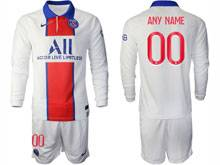 Mens 20-21 Soccer Paris Saint Germain ( Custom Made ) White Away Long Sleeve Suit Jersey