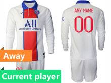Mens 20-21 Soccer Paris Saint Germain Current Player White Away Long Sleeve Suit Jersey