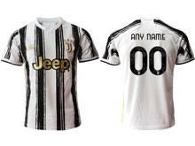 Mens 20-21 Soccer Juventus Club ( Custom Made ) White Black Stripe Home Thailand Short Sleeve Jersey