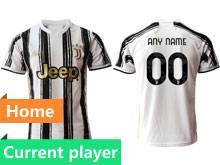 Mens 20-21 Soccer Juventus Club Current Player White Black Stripe Home Thailand Short Sleeve Jersey