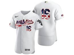 Mens Mlb Oakland Athletics #16 Liam Hendriks White Usa Flag Flex Base Nike Jersey No Name