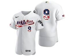Mens Mlb Oakland Athletics #9 Reggie Jackson White Usa Flag Flex Base Nike Jersey No Name