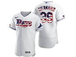 Mens Mlb Tampa Bay Rays #39 Kevin Kiermaier White Usa Flag Flex Base Nike Jersey