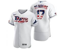 Mens Mlb Tampa Bay Rays #17 Austin Meadows White Usa Flag Flex Base Nike Jersey