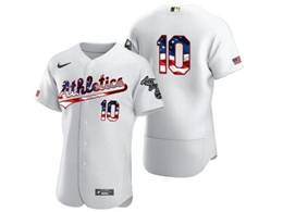 Mens Mlb Oakland Athletics #10 Marcus Semien White Usa Flag Flex Base Nike Jersey No Name