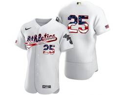 Mens Mlb Oakland Athletics #25 Mark Mcgwire White Usa Flag Flex Base Nike Jersey No Name