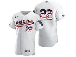 Mens Mlb Oakland Athletics #22 Ramon Laureano White Usa Flag Flex Base Nike Jersey No Name