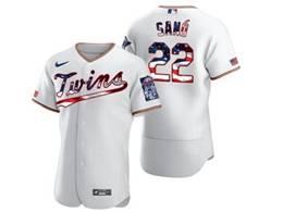 Mens Mlb Minnesota Twins #22 Miguel Sano White Usa Flag Flex Base Nike Jersey
