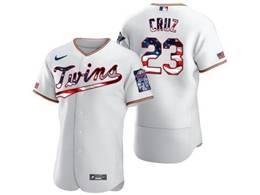 Mens Mlb Minnesota Twins #23 Nelson Cruz White Usa Flag Flex Base Nike Jersey