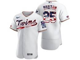 Mens Mlb Minnesota Twins #25 Byron Buxton White Usa Flag Flex Base Nike Jersey