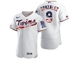 Mens Mlb Minnesota Twins #9 Marwin Gonzalez White Usa Flag Flex Base Nike Jersey