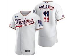 Mens Mlb Minnesota Twins #11 Jorge Polanco White Usa Flag Flex Base Nike Jersey