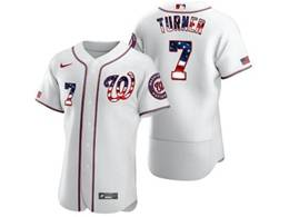 Mens Mlb Washington Nationals #7 Trea Turner White Usa Flag Flex Base Nike Jersey