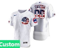 Mens Mlb Chicago Cubs Custom Made White Usa Flag Flex Base Nike Jersey