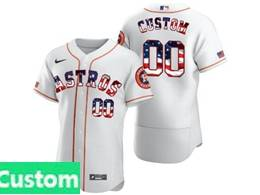 Mens Mlb Houston Astros Custom Made White Usa Flag Flex Base Nike Jersey