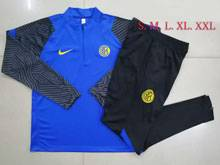 Mens 20-21 Soccer Sport Club Internacional Blue Training And Black Sweat Pants Training Suit  ( Half Zipper )