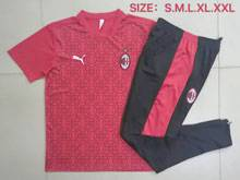 Mens 20-21 Soccer Ac Milan Club Red Short Sleeve And Black Sweat Pants Training Suit