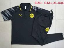 Mens 20-21 Soccer Borussia Dortmund Club Black Polo Shirt Training And Black Sweat Pants Training Suit