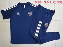 Mens 20-21 Soccer Atletico Boca Juniors Blue Short Sleeve And Navy Sweat Pants Training Suit