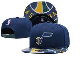Mens Nba Utah Jazz Blue Snapback Adjustable Flat Hats
