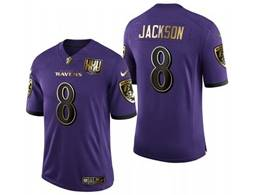 Mens Nfl Baltimore Ravens #8 Lamar Jackson Purple Team Black Golden Jersey