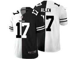 Mens Nfl Buffalo Bills #17 Josh Allen Black&white Split Peaceful Vapor Untouchable Limited Jersey