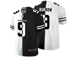 Mens Nfl Cincinnati Bengals #9 Joe Burrow Black&white Split Peaceful Vapor Untouchable Limited Jersey