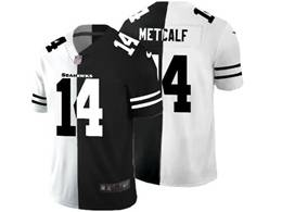 Mens Nfl Seattle Seahawks #14 Dk Metcalf Black&white Split Peaceful Vapor Untouchable Limited Jersey