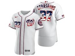 Mens Mlb Washington Nationals #37 Stephen Strasburg White Usa Flag Flex Base Nike Jersey