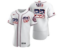 Mens Mlb Washington Nationals #22 Juan Soto White Usa Flag Flex Base Nike Jersey