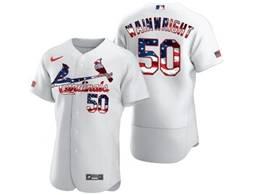 Mens Mlb St.louis Cardinals #50 Adam Wainwright White Flex Base Nike Jersey