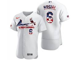 Mens Mlb St.louis Cardinals #6 Stan Musial White Usa Flag Flex Base Nike Jersey