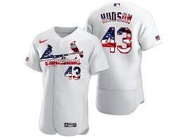 Mens Mlb St.louis Cardinals #43 Hudson White Usa Flag Flex Base Nike Jersey