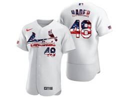 Mens Mlb St.louis Cardinals #48 Harrison Bader White Usa Flag Flex Base Nike Jersey