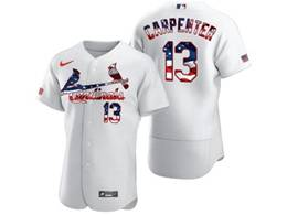 Mens Mlb  St.louis Cardinals #13 Matt Carpenter White Usa Flag Flex Base Nike Jersey