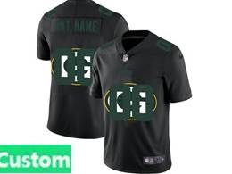 Mens Nfl Green Bay Packers Custom Made Black Shadow Logo Vapor Untouchable Limited Jersey