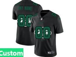 Mens Nfl New York Jets Custom Made Black Shadow Logo Vapor Untouchable Limited Jersey