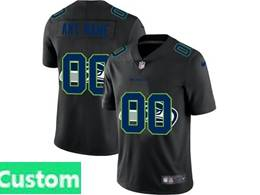 Mens Nfl Seattle Seahawks Custom Made Black Shadow Logo Vapor Untouchable Limited Jersey