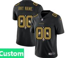 Mens Nfl New Orleans Saints Custom Made Black Shadow Logo Vapor Untouchable Limited Jersey