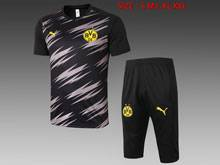 Mens 20-21 Soccer Borussia Dortmund Club Black Polo Shirt Training And Black Shorts Training Suit
