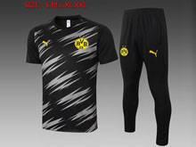 Mens 20-21 Soccer Borussia Dortmund Club Black Short Sleeve Training And Black Sweat Pants Training Suit